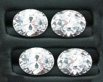 TWO 9x7 oval white cubic zirconia gem stone gemstone