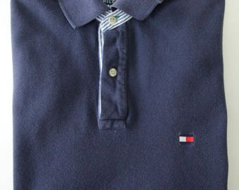 Tommy Hilfiger Navy Blue Short Sleeve Polo Shirt, Size Large