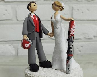 Football, ski mania custom wedding cake topper decoration