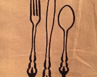 Tan & Black Kitchen Towel with Fork, Knife and Spoon