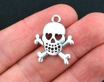 10 Skull and Bones Charms Antique Silver Tone - SC3620