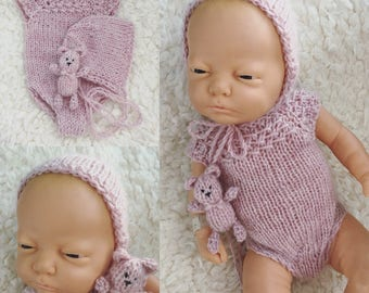 Newborn size knit romper set,bear,bonnet, romper, alpaca blend,photo prop,gift,coming home,pink,ready to ship