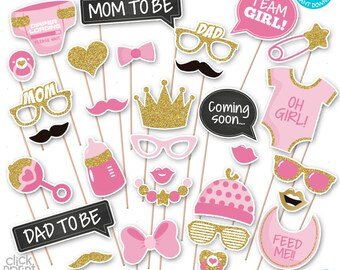 Pink and Gold Baby Shower Print Yourself Photo Booth Props - Baby Shower Printable Photo Props Set - It's a Girl Photobooth Props