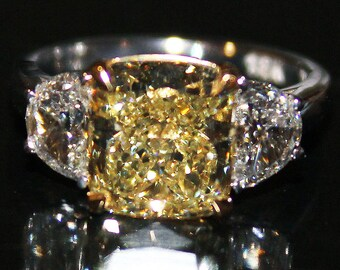 GIA Certified 2.50Cts Fancy yellow Cushion Cut 3 Stone Diamond Engagement Ring