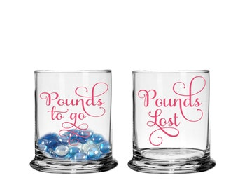 Pounds Lost Jar Pounds to go Jar - Weight loss tracker jars  - bathroom // vanity decor - Motivator -  Set of two round Lose Weight Set of 2