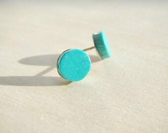 Stud earrings, post earrings, blue earrings, silver earrings, turquoise stud earrings, tiny earrings, small