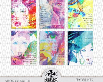 Printable Bible Journaling Cards - Scripture Cards - Illustrated Faith cards for Digital Scrapbooking, Faith Art & Christian Faith Planners