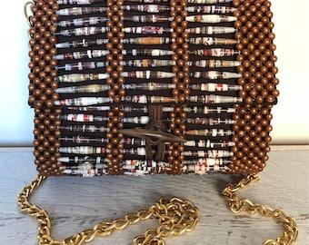 Beaded, Brown Leather Handbag