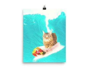 Kitty Cat Surfing Burrito Poster