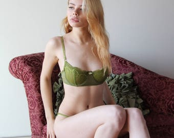 womens underwire bra with mesh band and lace cups - womens lingerie range - ROMANTIC - made to order