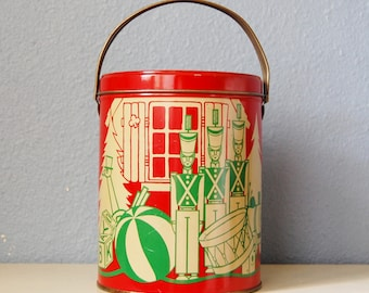 Vintage 1940s 50s Tin Canister with Handle Xmas Thanksgiving Litho Box Rare