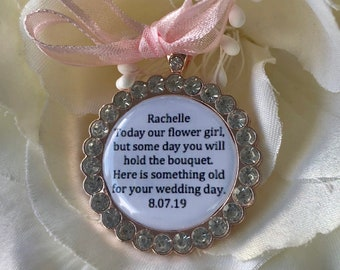 Rose Gold Bling Flowers Girl Charm