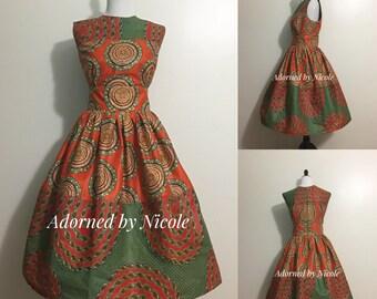 Orange and Green Color Block African Print Dress