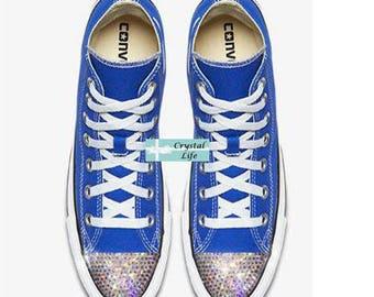SWAROVSKI Bling CONVERSE-Wedding Shoes -Blue HI Top Chuck Taylors with Satin Shoe Laces- Sparkle Chucks