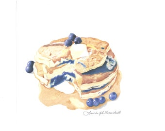 """Blueberry Pancakes, Prismacolor colored pencil, breakfast, drawing, illustration, print, berries, food, 8"""" x 10"""", kitchen, photo realistic"""
