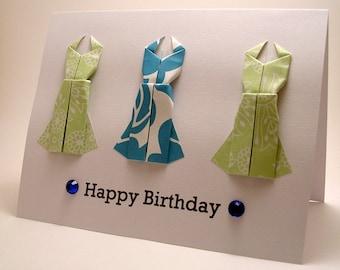 Mini Origami Dress Birthday Card (pale green blue)