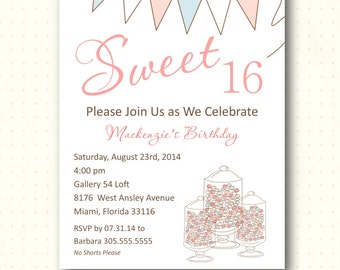 Sweet 16 Party Invitation, birthday, girl, tea party, quinceanera, baby, bridal, shower, digital, printable, invite B903