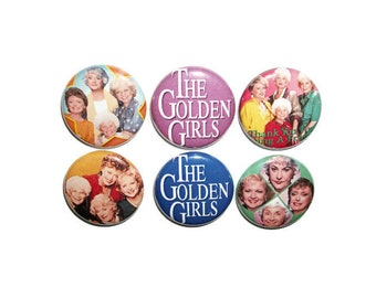 The Golden Girls six 1 inch button pin back badges classic comedy 80s tv show lover gift