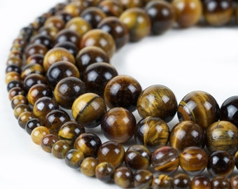"Natural Tiger Eye Beads 4mm 6mm 8mm 10mm 12mm Wholesale Round Gemstone 15.5"" Full Strand mala stones"