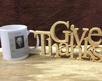 Give Thanks wood sign, inspirational home decor,home decor