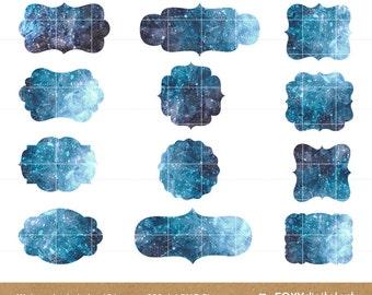 Watercolor Labels Clipart Set, Digital Scrapbook, Embellishment, Blue, White, Watercolor Frames, Clipart, Instant Download, Png- CL11