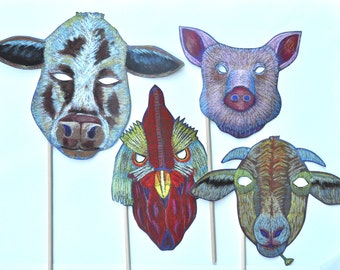 Farm Animal Masks / Halloween / Masks for the Family