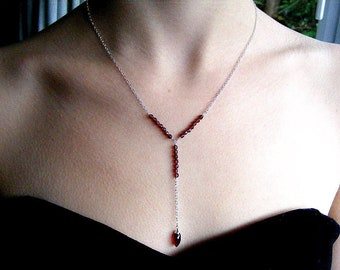 Red garnet Y necklace in sterling, elegant gemstone jewellery in 925 silver, long delicate design with January's birthstone, rhodolite