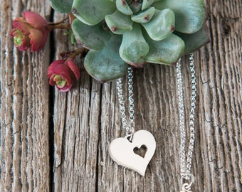 A Piece of My Heart Sterling Silver Necklace Set, Heart Cutout, Birth Mother Gift, Mother Daughter, Necklace, Silver Heart Necklace