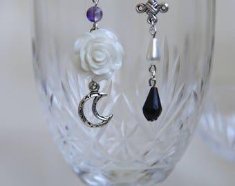 white rose asymmetry earring