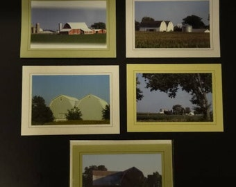 """Set of 5 """"Barns Across America"""" Photo Cards with Envelopes"""