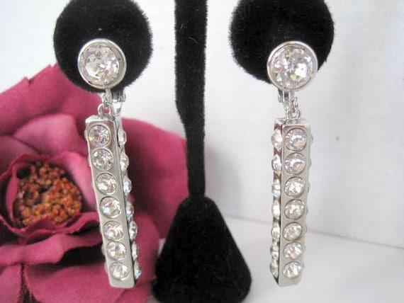 Bergere Rhinestone Earrings, Mid Century,  Designer Earrings, Dangle Clip Ons
