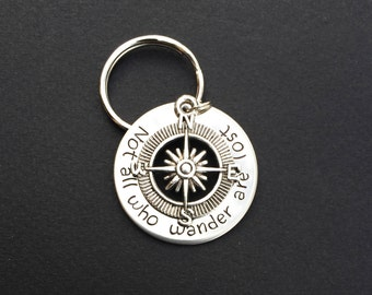 Not all who wander are lost, GPS Gift, Travel Gift Idea, Compass Keychain, Navigation Keyring, North East South West, Around the world gift