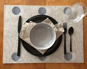 Custom Order For Mike + Brittany - Wool Felt Stripe Circle Placemats : Heather Flax Ground - Black/White Print