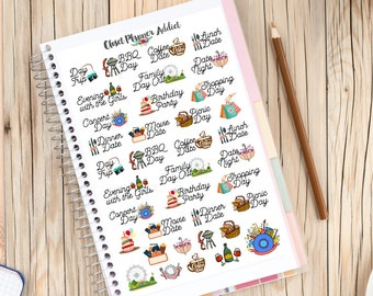 Appointments Dates Planner Stickers   BBQ Birthday Movies Picnic BBQ Lunch Dinner Date (S-195)