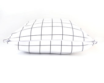Monochrome Pillow, Scandinavian, Black, White, Lines, Modern, Abstract, Home Decor, Living Room, Bedroom, Cushions, Pillows. Grid Pillow