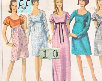 1960's Mod, Empire Waist dress Sewing Pattern/ Simplicity 6442 scoop neckline, fit and flare dress/ Size 10 Bust 32