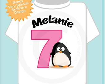 7th Penguin Birthday Shirt Personalized Birthday Girl Penguin Theme Tee Shirt or Onesie (01032014b)