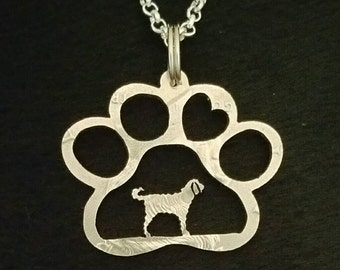 Labradoodle in a pawprint cut from a Kennedy half dollar coin jewelry