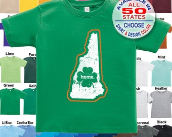 New Hampshire Home State Irish Shamrock T-Shirt - Boys / Girls / Infant / Toddler / Youth sizes