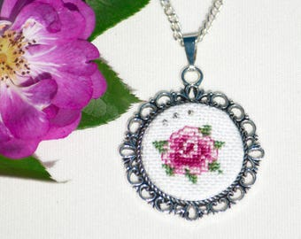 Hand Embroidered Rosa Flower Necklace Pendant