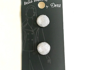 Belle Buttons By Dritz  15mm ( 5/8 inches) Silver Glitter Polyester Metal Button Item BB608