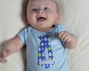12 Pre-cut Monthly Baby Milestone Waterproof Glossy Stickers - Neck Tie Shape - Design T002-01