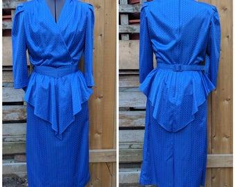 Vintage 1980's Impromptu Royal Blue with Peplum Knee Length Blelted 100% Polyester Party Evening Dress