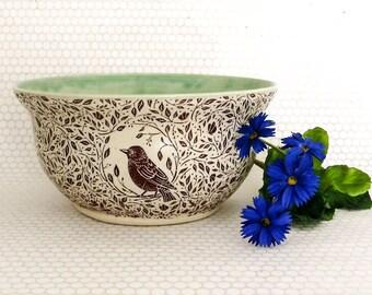 Serving Bowl - Fruit Bowl - Large Ceramic Bowl - 5 Cups - Hand Made Stoneware Bowl