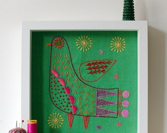BRIGHT BIRD Iron on Transfer for hand embroidery