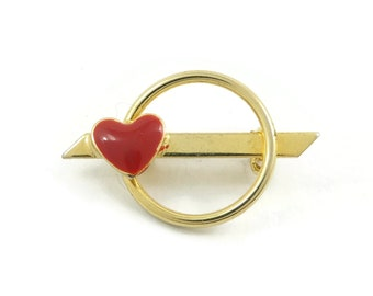 Vintage, Heart Brooch, Round, Red Enamel, Gold Tone, Small