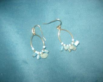 Light Blue Beads on a Hoop Earrings