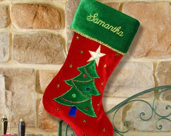 Personalized Christmas Tree Embroidered Stocking, personalized, personalized stocking, christmas, xmas, christmas decor -gfyS34609