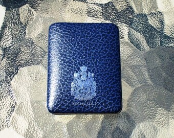 Canada Coat of Arms Medal Presentation Case Dark Navy Blue Patterned Hinged Case with Blue Velvet-on-Plastic Interior Vintage Treasure