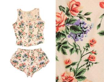 Vintage 1980s Victoria's Secret 100% Cotton Blush Pink Floral Print PJ Pajama Tank Top + Shorts Set Sleepwear